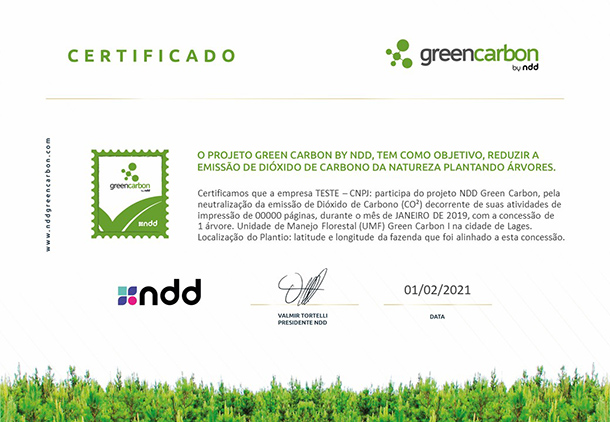 Certificado NDD Green Carbon